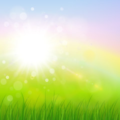 Natural sunny background, spring green