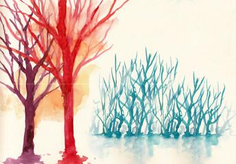 colorful trees in winter background water colour