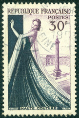 stamp shows Mannequin, Dressmaking industry of France