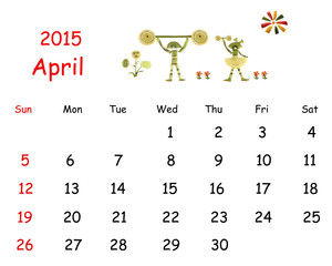 2015 Calendar. April. Little funny people from vegetables and fr