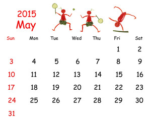 2015 Calendar. May. Little funny people from vegetables and frui