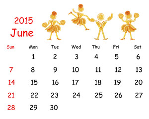 2015 Calendar. June. Little funny people from vegetables and fru