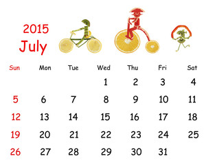 2015 Calendar. July. Little funny people from vegetables and fru