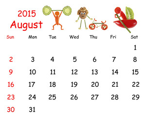 2015 Calendar. August. Little funny people from vegetables and f