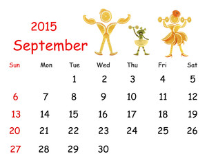 2015 Calendar. September. Little funny people from vegetables an