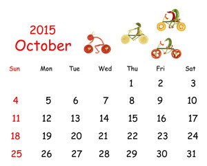 2015 Calendar. October. Little funny people from vegetables and