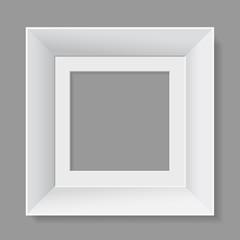 White frame isolated on gray background. Vector illustration.