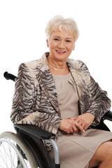 Mature woman in her wheelchair