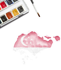 Watercolor painting of Singapore in the national colors.(series)