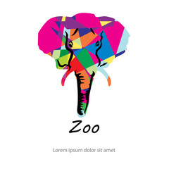 Colorful abstract silhouette of elephant