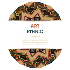 Banner with colorful floral element in Tribal style. Ethno. Vect