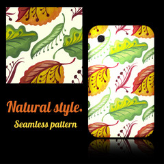 Seamless texture and decorated phone cover. Tribal natural style