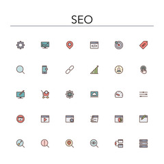 SEO Colored Line Icons