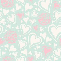 seamless pattern with hearts and roses
