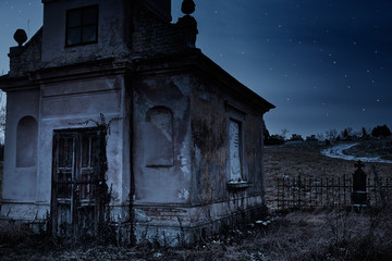 Wall Mural - Haunted creepy abandoned graveyard