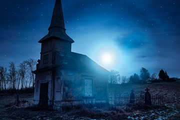 Fototapete - Haunted creepy abandoned graveyard
