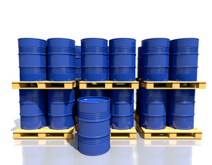 Stack barrels of fuel on a pallet are in the industrial warehous