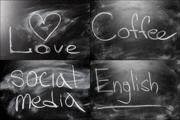 Black Chalkboard Set Collage Message Love, Cofee, Social Media