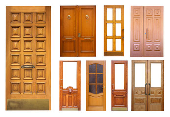 Set of wooden doors on white