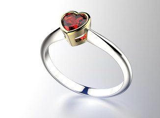 Ring with heart shape Diamond. Jewelry background. Valentine day