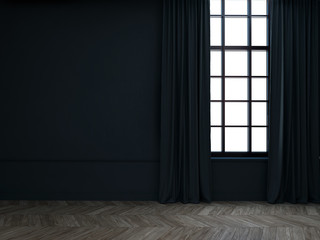 Empty room with curtains