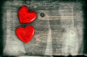Red Hearts. Valentines Day. Vintage style with grunge effect