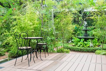 Black chair in the garden for ralex