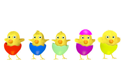 Group of amusing Easter chickens on white background