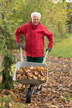 Senior man cleaning garden