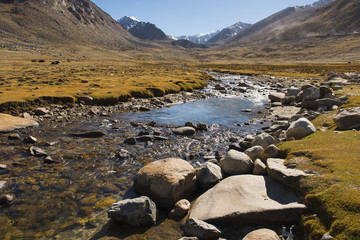 Himalayan river on the way to nubra valley from Ladakh