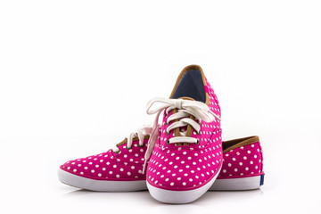 Pink polka dot canvas Shoe.