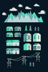 Town infographic elements. Vector city elements. Vector illustra