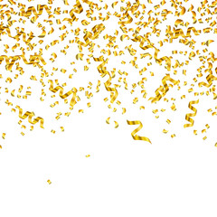 Vector Illustration of Golden Party Streamers and Confetti