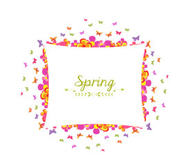 spring with flower and butterfly colorful banner