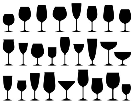 set of isolated wine and dessert glasses
