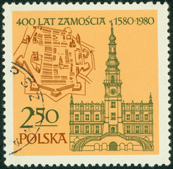 stamp printed in Poland shows Map and Old Town, Hall