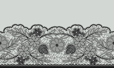 Seamless floral lace ribbon on gray.