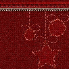 Red Christmas denim background with embroidered balls and stars