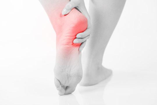 Foot heel pain, Woman's problem concept