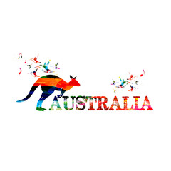 Poster Geometric animals Colorful Australia inscription with kangaroo