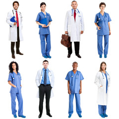 Medical workers full length portraits