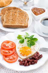 delicious breakfast for Valentine's Day, vertical