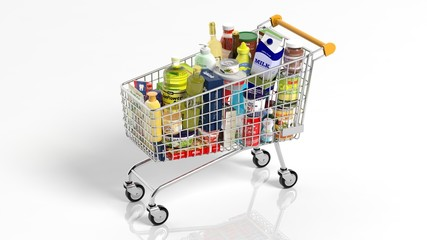 Full with products supermarket shopping cart