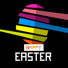 Happy Easter Egg on Black Background
