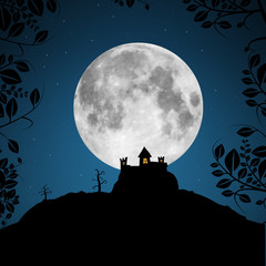 Full Moon Vector Illustration with Castle and Trees