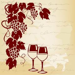 vine and wine glasses on a vintage background