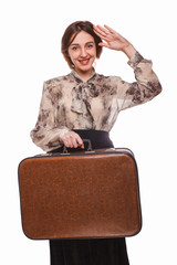 woman traveling with suitcase isolated on white background