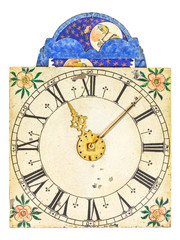 Medieval enamel clock face with moon rotation
