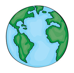Hand drawn cute cartoon earth. Vector