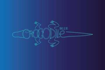 blue crocodile logo illustration